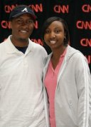 With wife Sabrina visiting CNN Center.